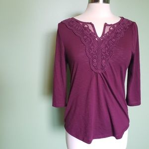 Sonoma Maroon Top W Lace & 3/4 Sleeves